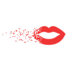 Sexy lips fractured pixel icon vector