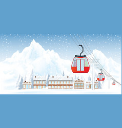 ski resort with cable cars or aerial lift against vector image