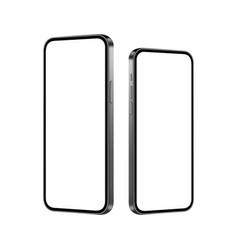 Smartphones mockups with blank screens side view vector