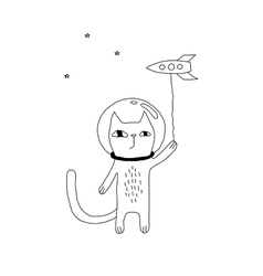 Space Cat Drawing vector