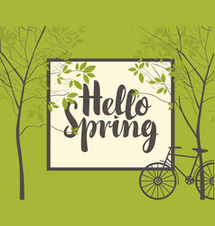 spring landscape with trees bike and inscription vector image