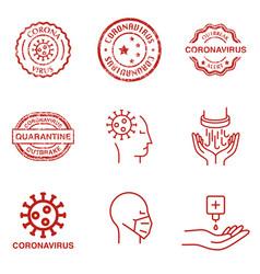 stamp with coronavirus vector image
