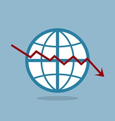 stock crisis with globe vector image
