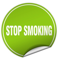 Stop smoking round green sticker isolated on white vector