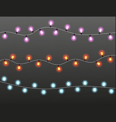 Strings christmas lights on dark background vector