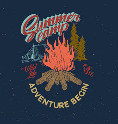 Summer camp adventure vintage graphic bonfire vector