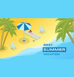 Summer holidays recreation banner template vector