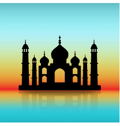 taj mahal black silhouette on dawn sky vector image