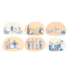 Teamwork coaching negotiations finance vector