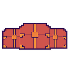 Three wooden pixelated chest treasure game vector