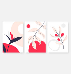 tropical leaves abstract minimal line drawing vector image
