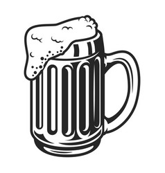 vintage monochrome beer mug template vector image