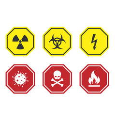warning signs set - danger radiation biohazard vector image