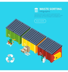 Waste sorting isometric poster vector