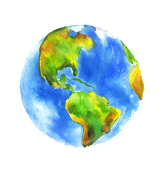Watercolor globe vector image
