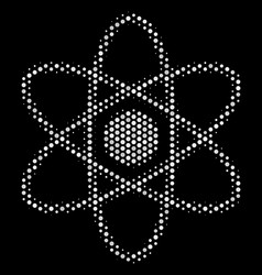 White dotted atom icon vector