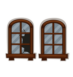 windows in good and bad condition vector image