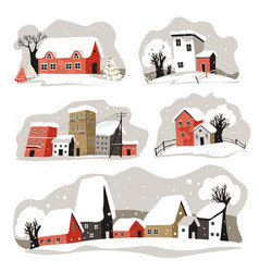 winter street in city or town snowy houses vector image