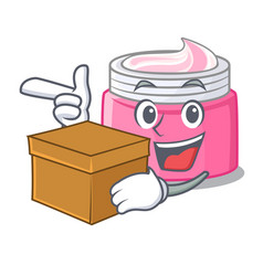 With box face cream in the cartoon form vector