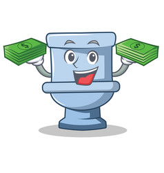 With money toilet character cartoon style vector