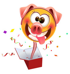 Yellow smile surprise masked pig jump out of box vector