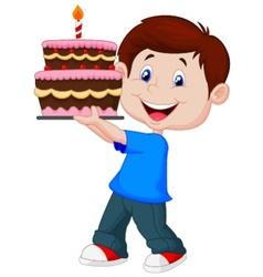 Boy cartoon with birthday cake vector image vector image