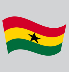 flag of ghana waving on gray background vector image vector image