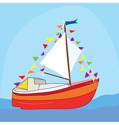 Funny yacht at the sea vector image vector image