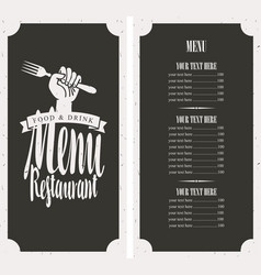 menu on black background with fork in hand vector image vector image
