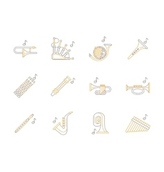 Woodwind music instruments flat line icons vector image vector image