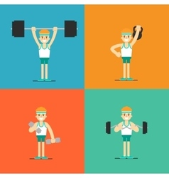 Athletic man doing exercise set vector image