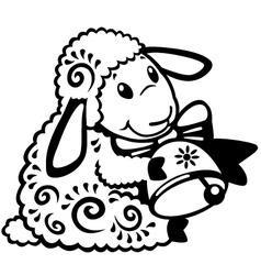 cartoon sheep black white vector image vector image