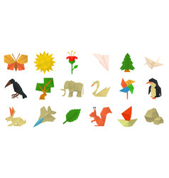 origami icon set cartoon style vector image