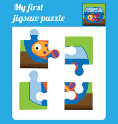 Puzzle kids activity complete the picture vector