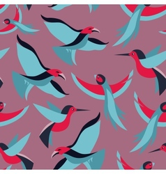 seamless pattern with birds in flat style vector image