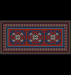 vintage motley carpet with ethnic red pattern on t vector image