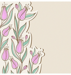 Decorative floral background with pink tulips vector image vector image