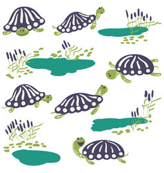 earthen turtle and reeds with pond icon set vector image vector image