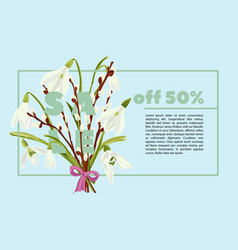 floral snowdrops and pussy willow hand drawn vector image