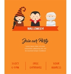 Happy Halloween Party invitation with cute vector image vector image