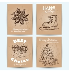 New Year greeting card with skates star gift and vector image