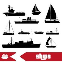 various transportation navy ships icons set eps10 vector image vector image