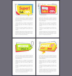 weekend sale commercial stickers on posters set vector image