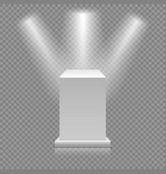 white empty podium isolated on transparent vector image