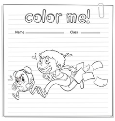 A worksheet with a boy and a clock running vector image