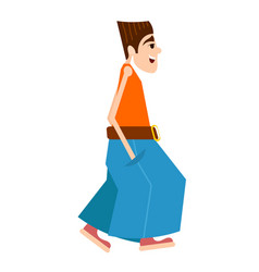 Abstract figure of a young man in wide pants on a vector