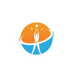Athletic yoga body logo symbols icons vector