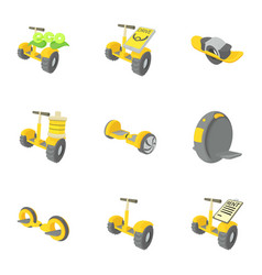 balancing scooter icons set cartoon style vector image