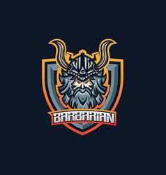 barbarian esport gaming mascot logo template for vector image