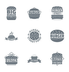 big burger logo set simple style vector image